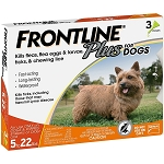 Frontline Plus for Dogs and Puppies 8 weeks or older and up to 22 lbs. - 3 doses
