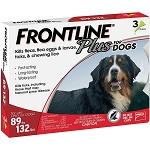 Frontline Plus for Dogs - 89 - 132 lbs. - 3 doses