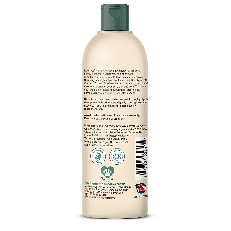 NaturVet Hemp Shampoo & Conditioner 2-in-1 - 16 oz