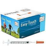 Easy Touch Insulin U100 Syringe with Needle attached - bags of 10 or boxes of 100 - 10 sizes