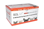 SOL-M Insulin U40 Syringe with HALF UNIT markings - bags of 10 or box of 100 - 6 sizes