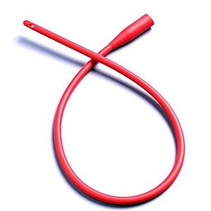 Specialized surgical grade red polyvinyl chloride feeding tubes - smooth rounded tip, become rigid when refrigerated
