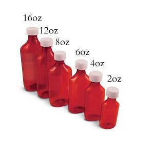Plastic amber bottle - 8 oz. (240 ml.) - one bottle