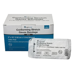 Conforming Stretch Gauze Bandages - 3 inch - box of 12 rolls