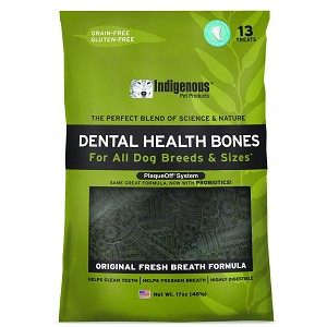 Completely grain-free and gluten-free, these unique edible chew bones include ProDen PlaqueOff, a product that has been proven to prevent plaque build up