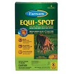Permethrin-based Equi-Spot kills and repels house flies, face flies, horn flies, eye gnats, and ticks for minimum of 2 weeks