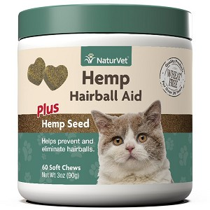 For cats over 12 weeks, this yummy chew is formulated with Psyllium Husk and Hemp to help eliminate and prevent hairballs and support the digestive system
