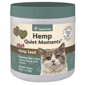 Unique blend of Chamomile, Thiamine, L-Tryptophan, Melatonin, Ginger, and Hemp Seed - great to calm kitty nerves during storms, fireworks, travel, and grooming