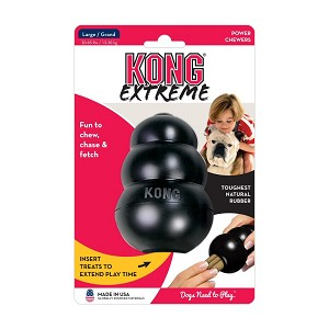 Black rubber formula is specifically designed for power chewers - unpredictable bounce for games of fetch, great for stuffing with KONG Easy Treat, Snacks, peanut butter, treats, etc.