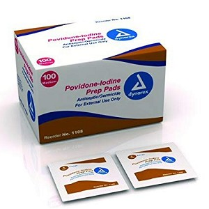 A topical antiseptic, germicide pad for cleansing and disinfecting of wounds, emergency treatment of lacerations, abrasions and second and third degree burn