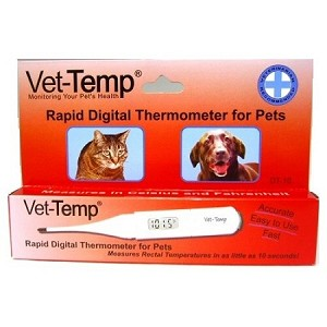 Gives rectal temperature readings in as little as 10 seconds - alarm sounds when animal's temperature is reached