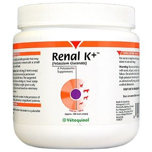 Extremely tasty potassium supplement to treat hypokalemia - also use to help prevent kidney problems from starting in older cats or dogs with low potassium levels