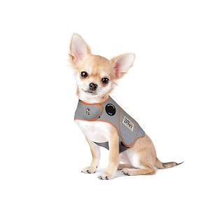 This patented design applies a gentle, constant pressure that has a dramatic calming effect for over 80% of dogs - this picture shows an Extra Extra Small ThunderShirt
