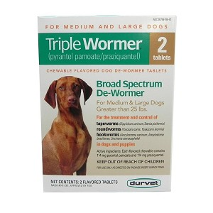 Flavored, chewable tablet treats Roundworm, Hookworm and Tapeworm in puppies 12 weeks or older and adult dogs