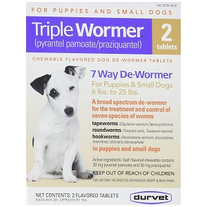 Triple Wormer for Dogs 6 to 25 lbs. - 2 tablets