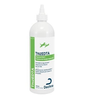 Unique topical flush with patented TrizEDTA formula that can be used alone or to enhance the bacteria killing ability of antibiotics that are used in the ear canal