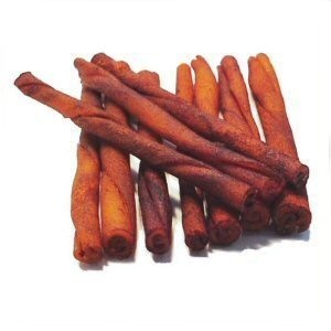 Beef Hide Bacon Basted Twists - 5 inches x 1/2 inch across - bag of 10