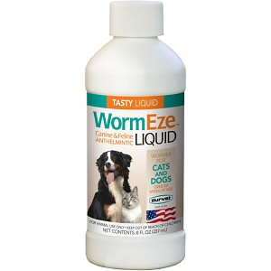 A liquid dog and cat wormer for use in food or drinking water for the removal of large roundworms